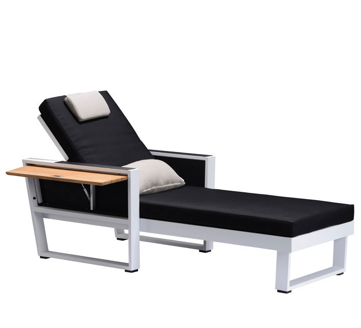 chaise longue bain de soleil noir aluminium et teck york 549 salon d 39 t. Black Bedroom Furniture Sets. Home Design Ideas