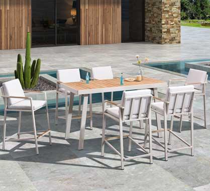 Bar De Jardin 6 Personnes Aluminium Et Bois Teck Table Haute