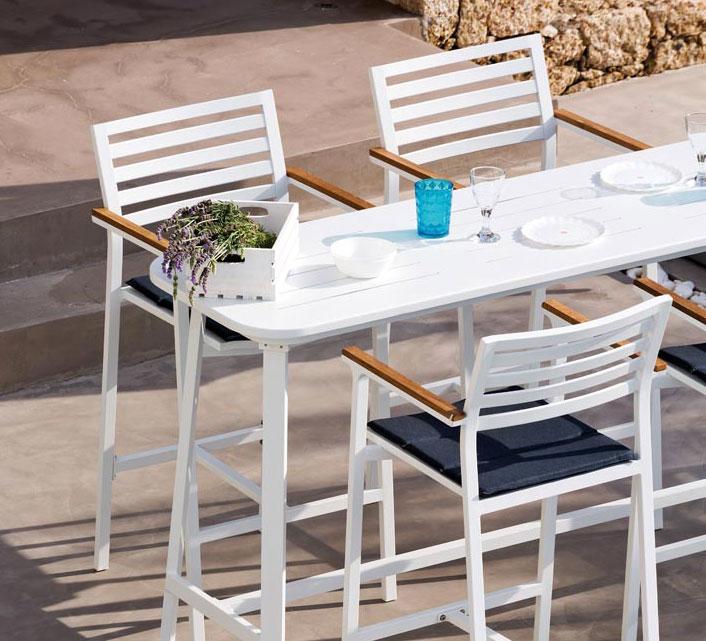 Bar de jardin 6 personnes Aluminium Table Haute H102cm Klara Blanc ...