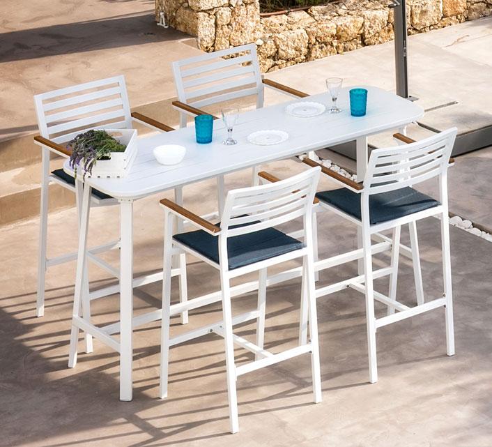 Table Haute de Jardin Aluminium H102cm Bar Klara Blanc