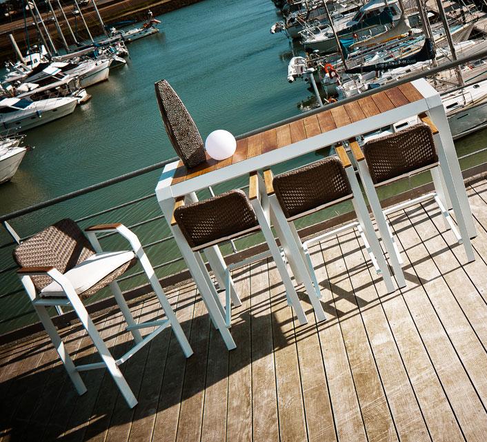 Bar de jardin 4 personnes Aluminium Table Haute H106cm Miami Blanc 92