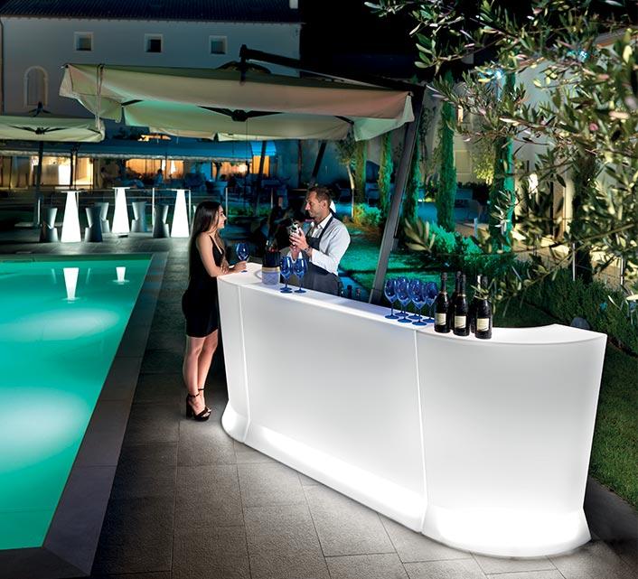 bar lumineux marvy l150cm led multicolore modulaire avec cocktail station