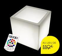 Pot lumineux carr led 40 cm sans fil 99 salon d 39 t for Cube lumineux exterieur sans fil