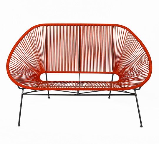Canap acapulco rouge 2 places 159 salon d 39 t for Canape de jardin tresse