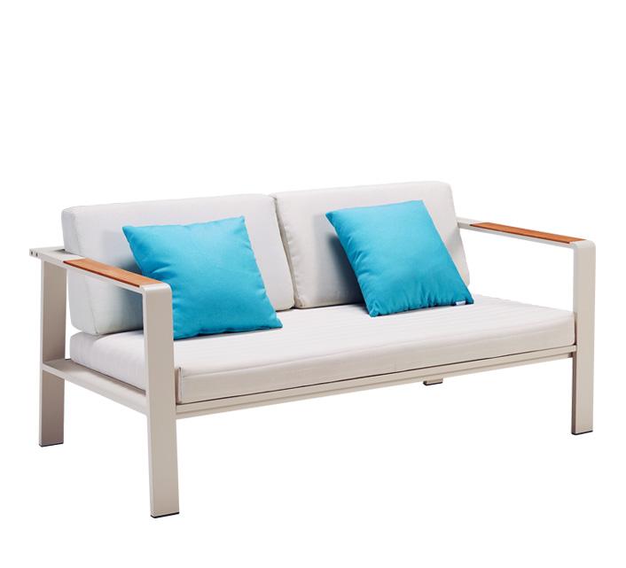 Canap de jardin 2 places beige aluminium et teck nofi 489 salon d for Canape jardin aluminium