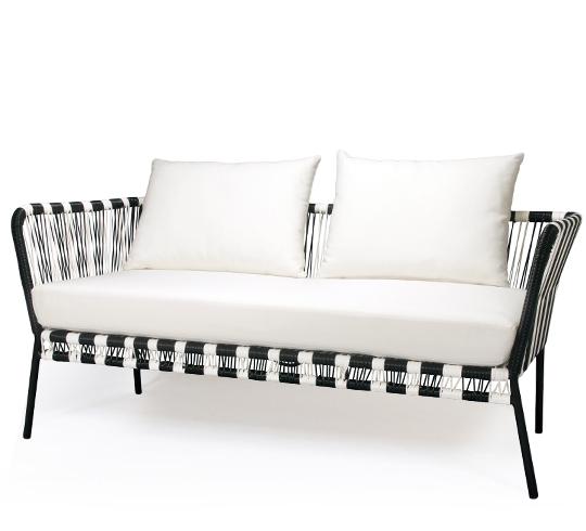 canap de jardin 2 places fil noir et blanc mexico - Canape De Jardin