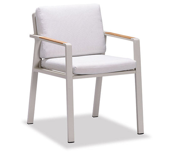 chaise de jardin beige aluminium et teck nofi 129 salon. Black Bedroom Furniture Sets. Home Design Ideas