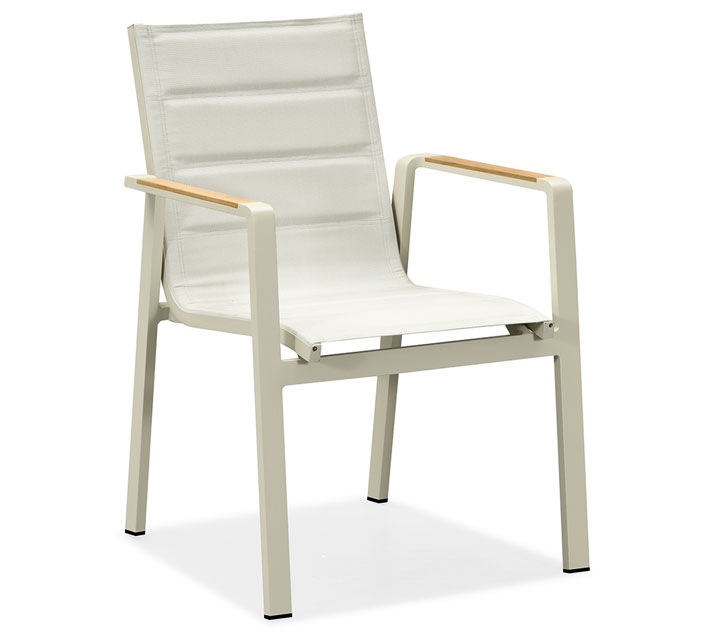 Chaise de jardin matelass e aluminium et teck nofi beige 139 salon d 39 t - Salon de jardin teck et aluminium ...