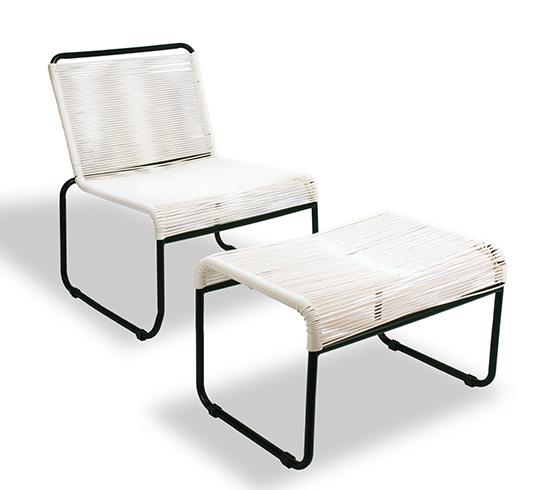 Chaise de jardin lounge fil blanc repose pieds cancun 149 - Repose pieds de salon ...