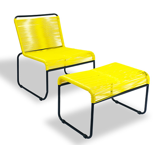 Chaise de jardin lounge fil jaune repose pieds cancun 149 for Salon de jardin lounge