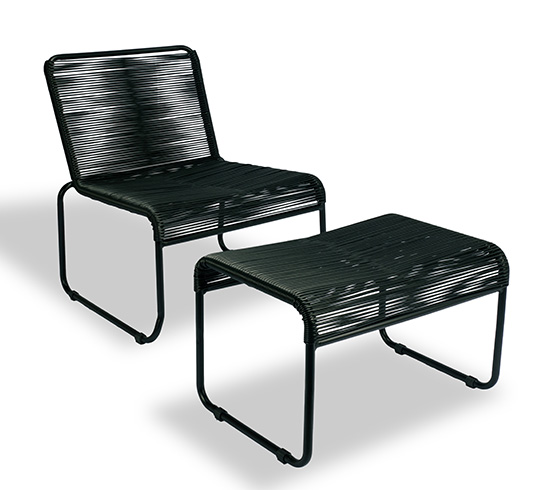 Chaise de jardin lounge fil noir repose pieds cancun 149 for Salon de jardin lounge