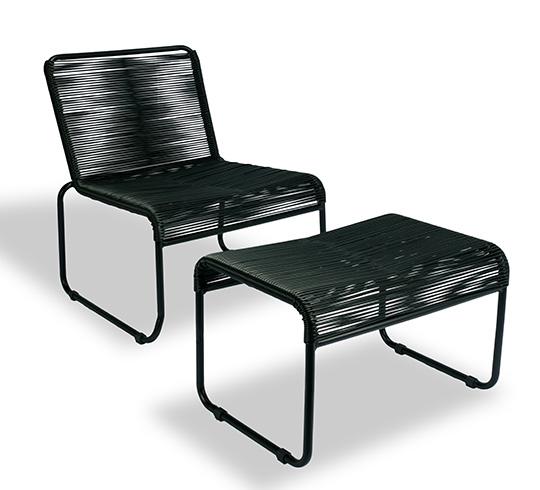 Chaise de jardin lounge fil noir repose pieds cancun 89 for Chaise de jardin noire