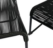 Chaise de jardin lounge fil noir repose pieds cancun 149 salon d 39 - Salon de jardin cancun noir ...
