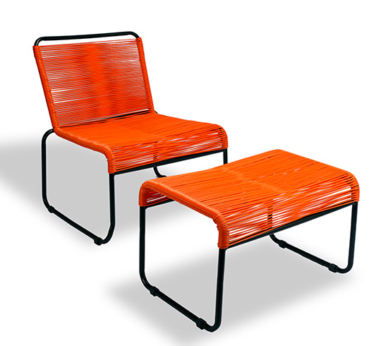 Chaise de Jardin Lounge Fil Orange Repose-Pieds Cancun