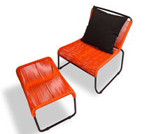 Chaise de jardin lounge fil orange repose pieds cancun 149 salon d - Chaise salon de jardin orange ...