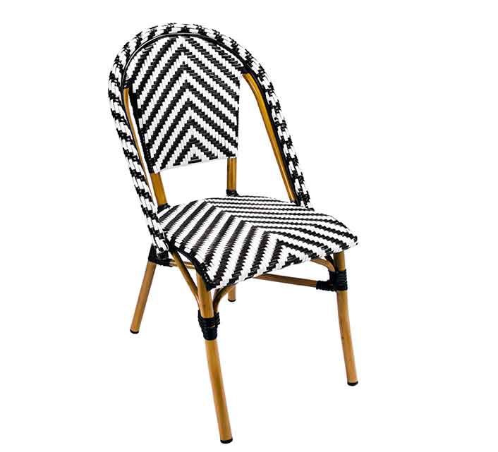 chaise de terrasse parisienne r sine tress e noir et blanc 95 salo. Black Bedroom Furniture Sets. Home Design Ideas