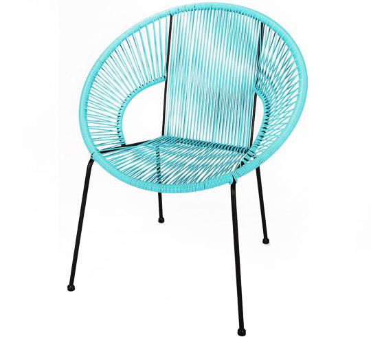 Chaise de jardin ipanema fil bleu turquoise 89 salon d 39 t - Chaise de jardin bleu marine ...