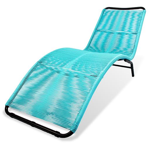 Chaise longue bain de soleil acapulco fil bleu turquoise - Chaise acapulco noir ...