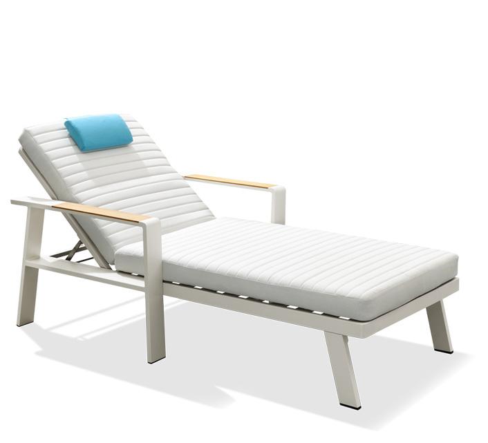 Chaise Longue Bain de Soleil Aluminium et Teck Nofi 519€   Salon d été 5ff1522fdf4c