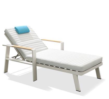 Chaise Longue Bain De Soleil Aluminium Et Teck Nofi