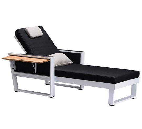 Chaise Longue Bain de Soleil Noir Aluminium et Teck York 549€   Salon e6c0e921f4bd