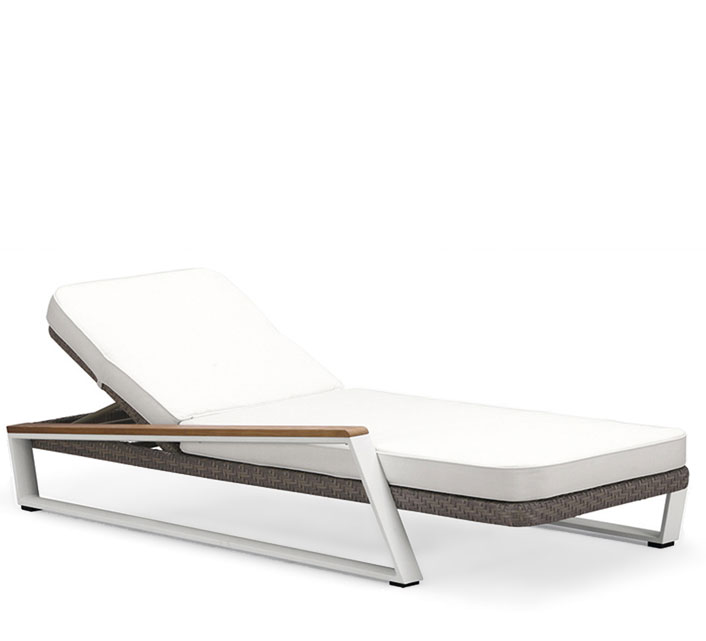 chaise longue bain de soleil aluminium et teck miami 449. Black Bedroom Furniture Sets. Home Design Ideas