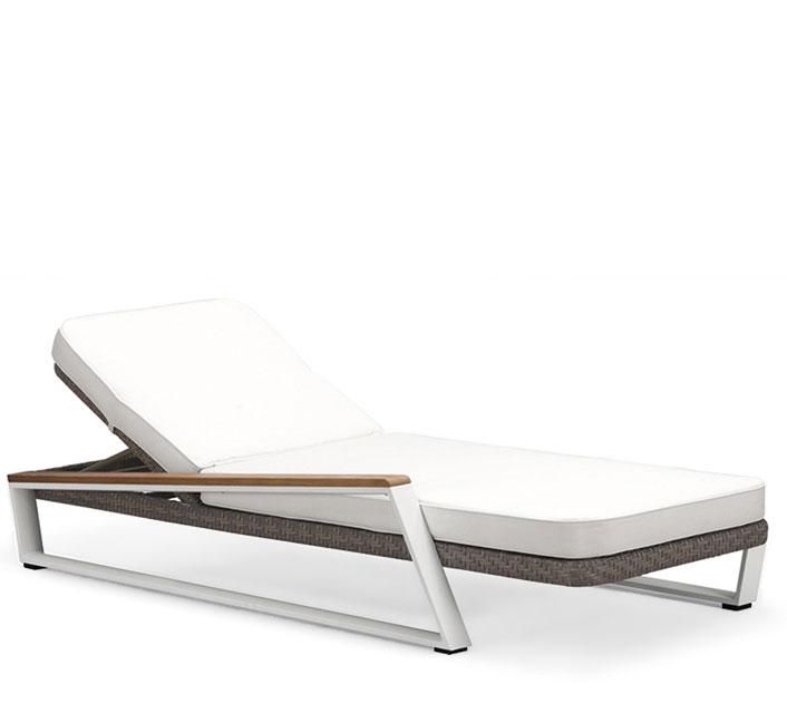Chaise Longue Bain De Soleil Aluminium Et Teck Miami