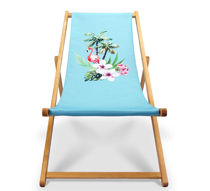 Chilienne Bois Bleu Ciel Motif Flamant Rose L130cm 65€ | Salon d\'été