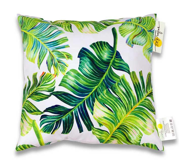 coussin d 39 ext rieur blanc imprim jungle feuilles de palmier 45x45cm 24 salon d 39 t. Black Bedroom Furniture Sets. Home Design Ideas