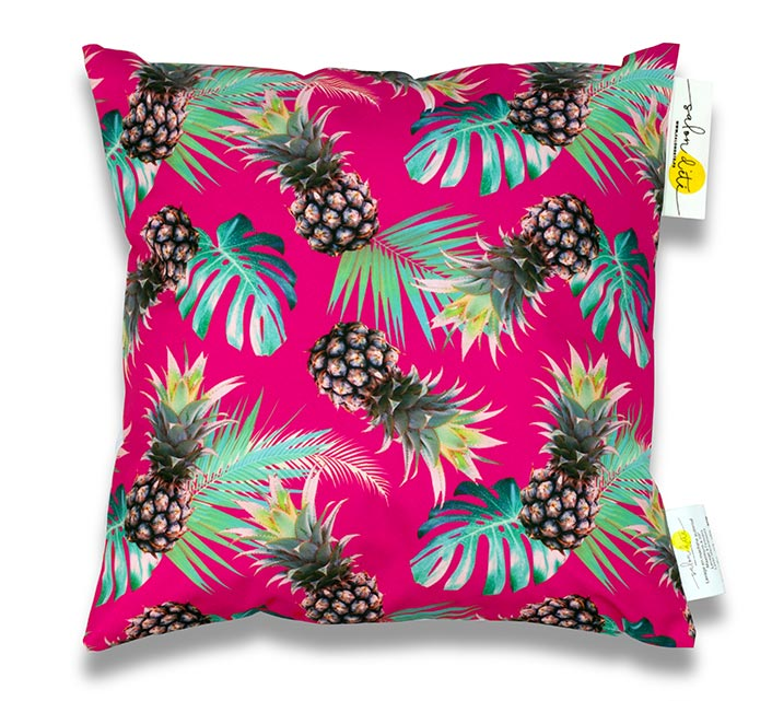 coussin d 39 ext rieur waterproof rose imprim ananas 45x45cm 24 salo. Black Bedroom Furniture Sets. Home Design Ideas