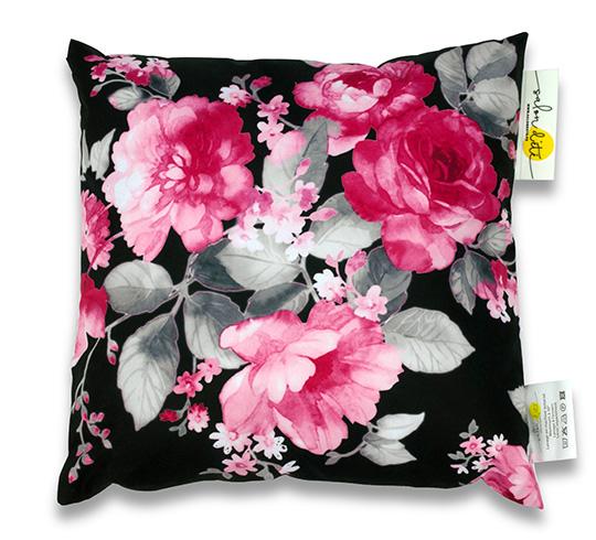coussin d 39 ext rieur waterproof rose noir imprim fleur 45x45cm 17. Black Bedroom Furniture Sets. Home Design Ideas