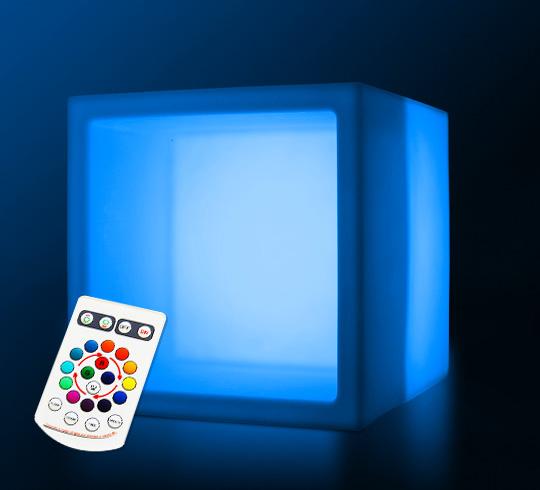 cube de rangement lumineux led 40 cm sans fil 95 salon d 39 t. Black Bedroom Furniture Sets. Home Design Ideas