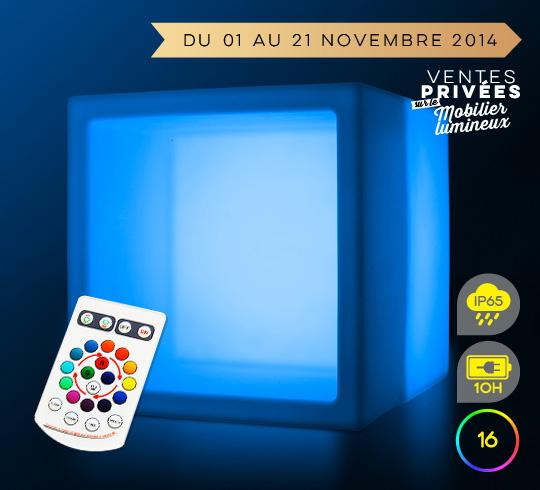 Cube de rangement lumineux led 40 cm sans fil 92 salon for Cube lumineux exterieur sans fil
