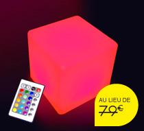 Cube lumineux led ext rieur 30 cm sans fil 59 salon d 39 t for Cube lumineux exterieur sans fil