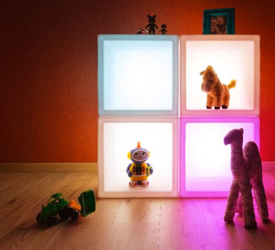lot de 4 cubes de rangement lumineux led 40 cm sans fil 319 salon. Black Bedroom Furniture Sets. Home Design Ideas