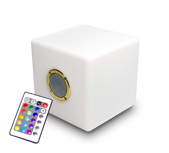 enceinte bluetooth cube lumineux led 30 cm ext rieur sans. Black Bedroom Furniture Sets. Home Design Ideas