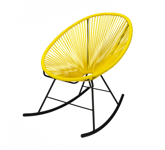 Fauteuil acapulco rocking chair jaune 95 salon d 39 t for Jardin 7 17 acapulco