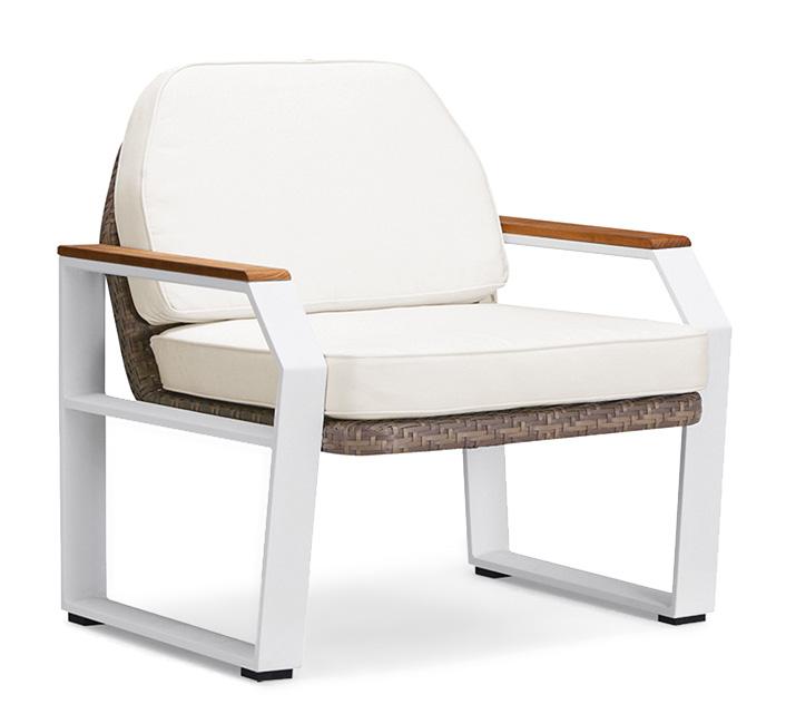 Fauteuil de Jardin Aluminium Blanc et Teck Miami 289€ | Salon d\'été