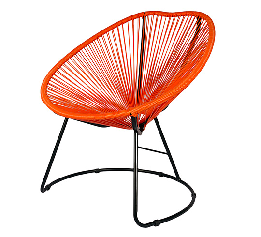 Lot 4 Fauteuils de Jardin Copacabana Fil Orange