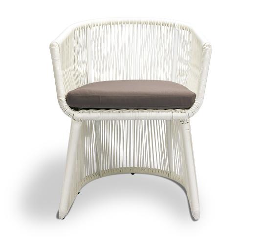 Chaise de Jardin Fil Blanc Coussin Taupe Bahia 149€ | Salon d\'été