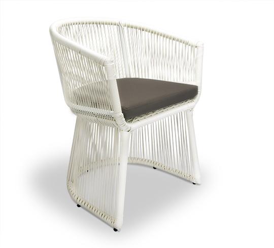 chaise de jardin fil blanc coussin taupe bahia 149 salon d 39 t. Black Bedroom Furniture Sets. Home Design Ideas