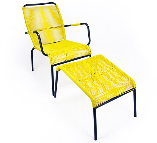 fauteuil de jardin fil jaune repose pieds cancun 89 salon d 39 t. Black Bedroom Furniture Sets. Home Design Ideas