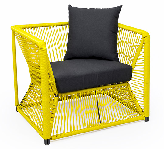fauteuil de jardin fil jaune rio 149 salon d 39 t. Black Bedroom Furniture Sets. Home Design Ideas