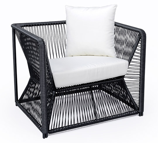fauteuil de jardin fil noir et blanc rio 189 salon d 39 t. Black Bedroom Furniture Sets. Home Design Ideas