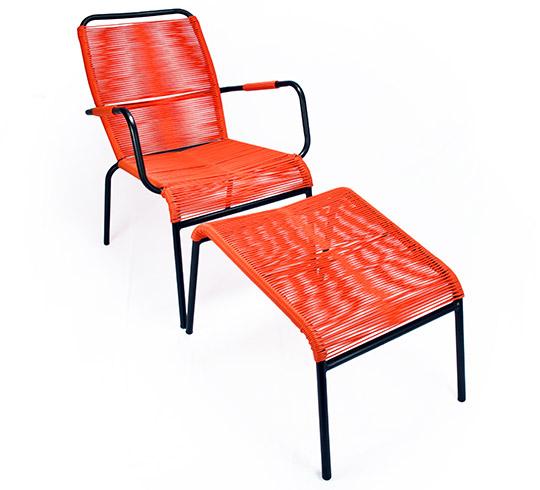 Fauteuil de jardin fil orange repose pieds cancun 169 salon d 39 t - Salon de jardin cancun noir ...