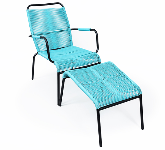 fauteuil de jardin fil bleu turquoise repose pieds cancun. Black Bedroom Furniture Sets. Home Design Ideas