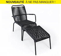 salon de jardin fil noir cancun 169 salon d 39 t. Black Bedroom Furniture Sets. Home Design Ideas