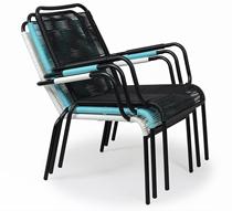 fauteuil de jardin fil noir repose pieds cancun 89 salon d 39 t. Black Bedroom Furniture Sets. Home Design Ideas