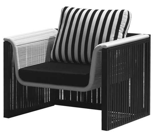 fauteuil de jardin noir et blanc 126 salon d 39 t. Black Bedroom Furniture Sets. Home Design Ideas