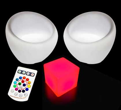 Herrlich Lot De 2 Fauteuils Et 1 Cube Lumineux LED Extérieur Sans Fil